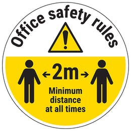 Office Safety Rules - Keep 2m Distance Temporary Floor Sticker