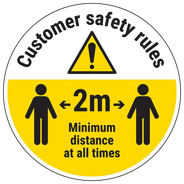 Customer Rules - Keep 2m Temporary Floor Sticker