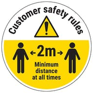 Customer Rules - Keep 2m Distance Temporary Floor Sticker