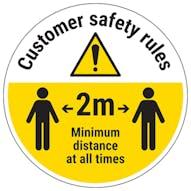 Customer Rules - Keep 2m Distance Temporary Floor Sticker