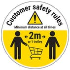 Customer Rules - Keep One Trolley Away Temporary Floor Sticker
