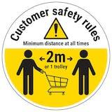 Customer Rules Trolley Temporary Floor Sticker