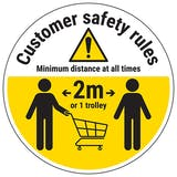 Customer Rules Trolley Temporary Floor Sticker