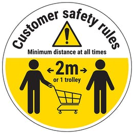 Customer Rules - Keep One Trolley Away Temporary Floor Sticker