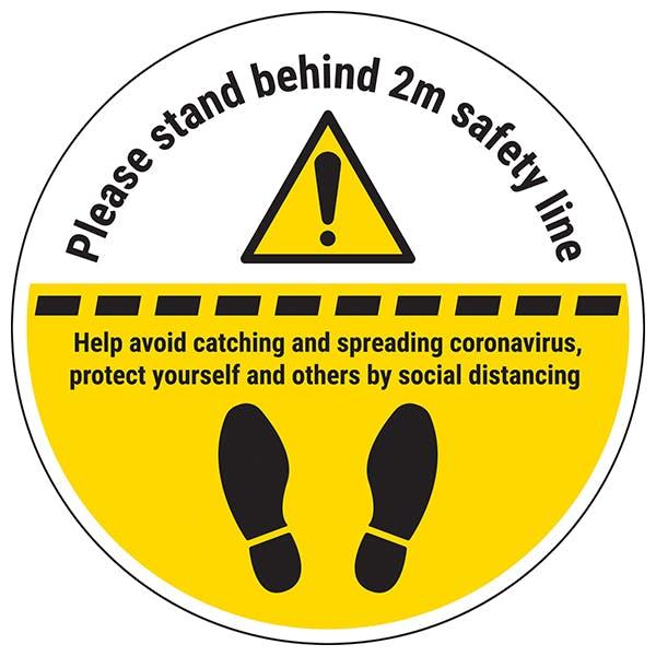 Stand 2m Behind Line Temporary Floor Sticker