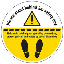 Stand 2m Behind Line Temporary Floor Sticker