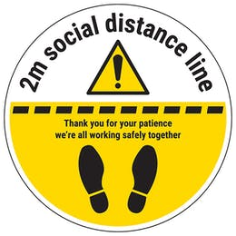2m Social Distance Line Temporary Floor Sticker