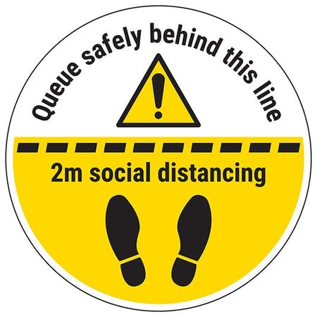 Queue Safely Behind This Line Temporary Floor Sticker