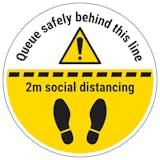 Queue Safely Behind Temporary Floor Sticker