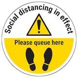 Please Queue Here Temporary Floor Sticker