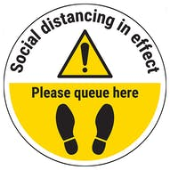 Social Distancing In Effect - Please Queue Here Temporary Floor Sticker