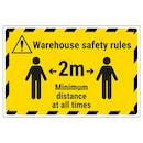 Warehouse Safety Rules 2m Minimum Distance Temporary Floor Sticker