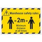 Warehouse Safety Rules 2m Minimum Distance Temporary Floor Sticker