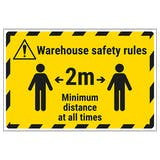 Warehouse Safety Rules 2m Temporary Floor Sticker