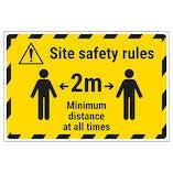 Site Safety Rules - 2m Minimum Distance Temporary Floor Sticker