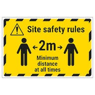 Site Safety Rules - 2m Minimum Distance Temporary Floor Sticker