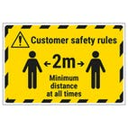 Customer Rules - 2m Minimum Distance Temporary Floor Sticker