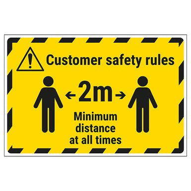Customer Rules - 2m Minimum Distance Temporary Floor Sticker