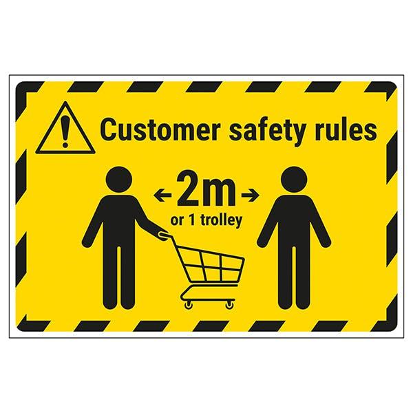 Customer Rules - 2m or 1 Trolley Away Temporary Floor Sticker