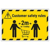 Customer Rules - 1 Trolley Temporary Floor Sticker