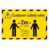 Customer Rules - 1 Trolley Temporary Floor Sticker