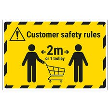 Customer Rules - 2m or 1 Trolley Away Temporary Floor Sticker