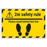 2m Safety Rule - Stand Temporary Floor Sticker
