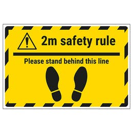 2m Safety Rule - Stand Behind This Line Temporary Floor Sticker