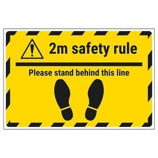 2m Safety Rule - Stand Behind Line Temporary Floor Sticker