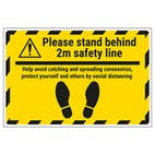 Please Stand Behind 2m Safety Line Temporary Floor Sticker