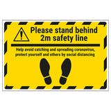 Please Stand Behind 2m Temporary Floor Sticker