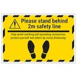 Please Stand Behind 2m Temporary Floor Sticker