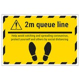 2m Queue Line - Avoid Temporary Floor Sticker
