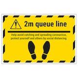 2m Queue Line - Avoid Temporary Floor Sticker