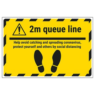 2m Queue Line - Avoid Spreading Coronavirus Temporary Floor Sticker