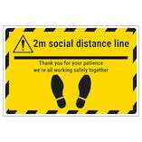 2m Social Distance Line - Thank You Temporary Floor Sticker