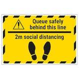 Queue Safely 2m Social Distancing Temporary Floor Sticker