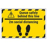 Queue Safely 2m Temporary Floor Sticker