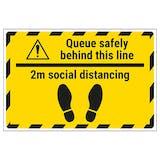 Queue Safely 2m Temporary Floor Sticker