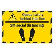 Queue Safely 2m Social Distancing Temporary Floor Sticker