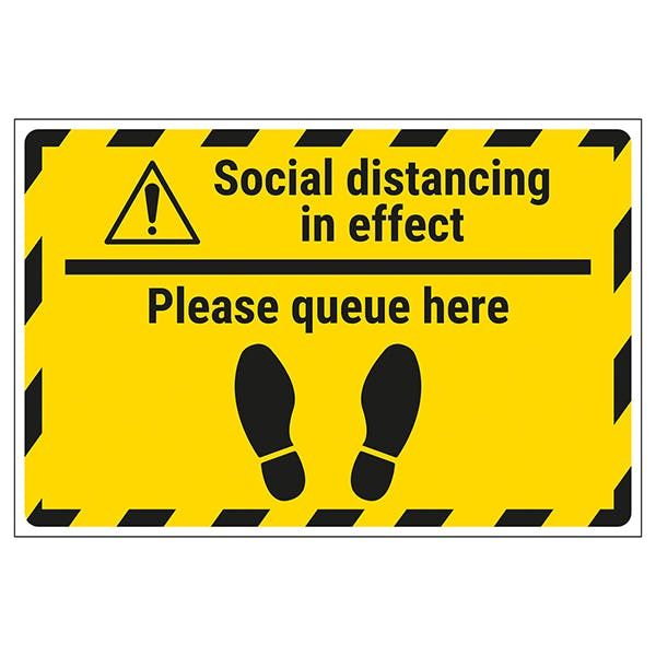 Social Distancing In Effect - Please Queue Temporary Floor Sticker