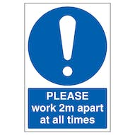 Please Work 2m Apart At All Times