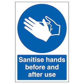Sanitise Hands Before And After Use