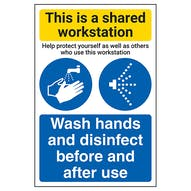 Shared Workstation/Wash Hands And Disinfect