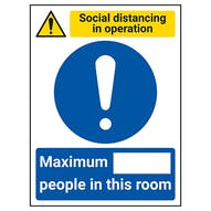 Social Distancing In Operation - Max People In This Room