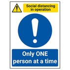 Social Distancing In Operation - Only ONE Person At A Time