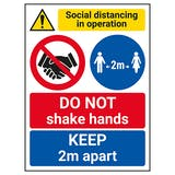 Social Distancing In Operation - DO NOT Shake Hands - 2m