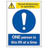 Social Distancing In Operation - ONE Person In This Lift