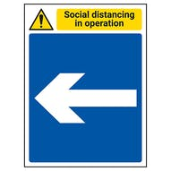 Social Distancing In Operation - Arrow Left