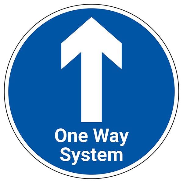One Way System With Arrow Temporary Floor Sticker